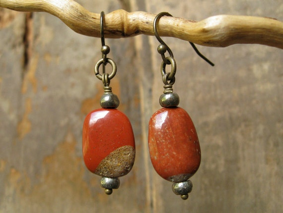 Rustic Earrings, brick red spotted chalcedony, pyrite, and brass dangle earrings