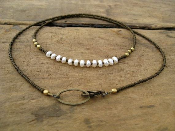 Freshwater Pearl Necklace, dainty rustic keishi pearl jewelry, June birthstone necklace with pearls (simple, earthy, luminous)
