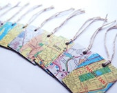Upcycled Custom Map Tags // Set of 12 //  Made to Order // You Choose the Maps // Gift Wedding Tags