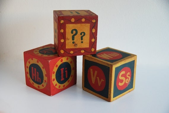 Set of 3 Vintage Wooden Painted Alphabet Blocks - Made in India
