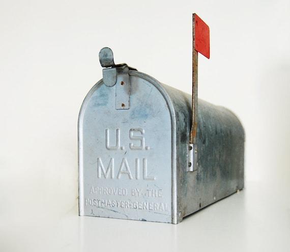 Vintage Galvanized Metal Mailbox with Red Flag - Repurposed Industrial Storage