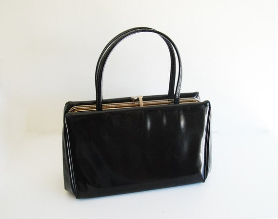 Vintage Black Patent Leather Purse With Gorgeous Gold Snap Closure - Classic 1950's Mad Men