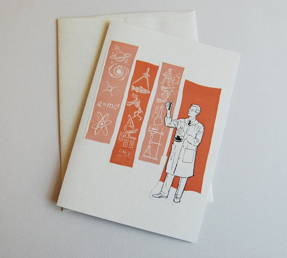Upcycled Vintage Book Illustration Greeting Card- Scientist Geek Nerd - Eco Friendly