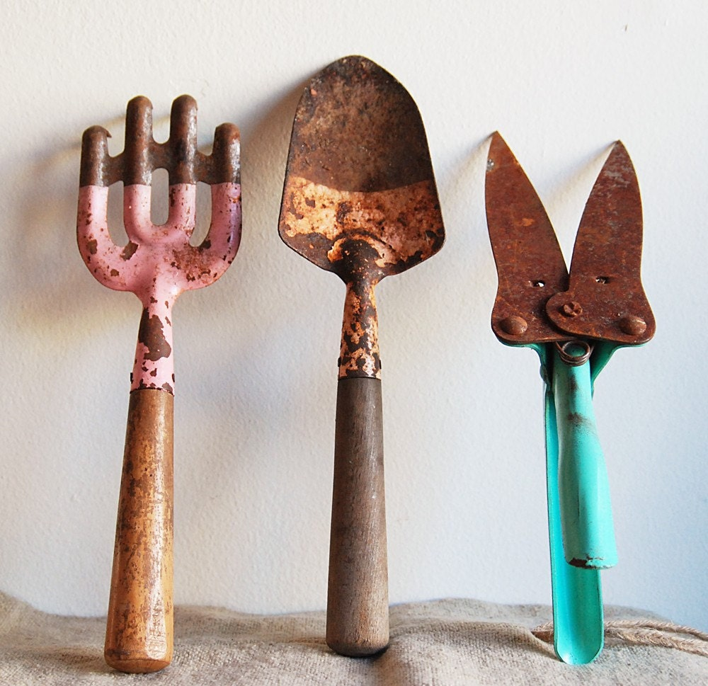 Trio of colorful vintage garden tools instant collection for Gardening tools vintage