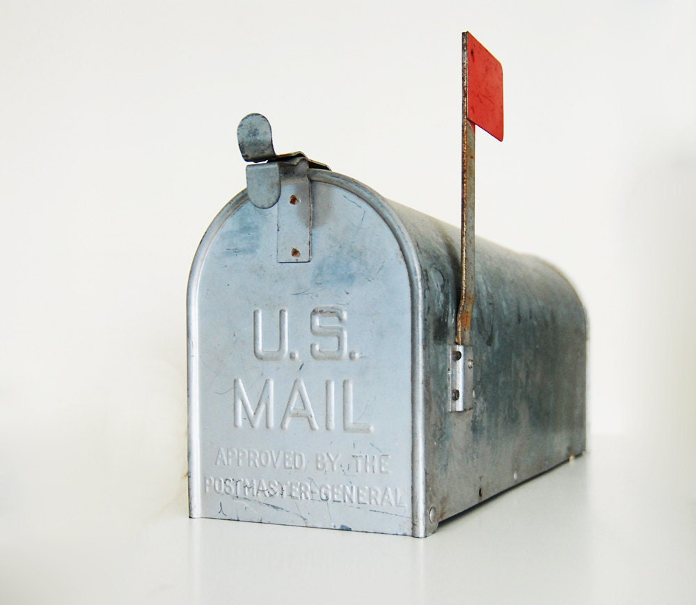 Tin Mailbox: Vintage Galvanized Metal Mailbox With Red Flag Repurposed