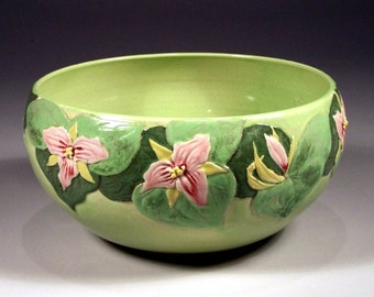 3RD PRICE REDUCTION - Large Salad and Fruit Bowl - Hand Carved Spring Trilliums - One-of-a-Kind