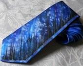 Handpainted necktie blue black night sky