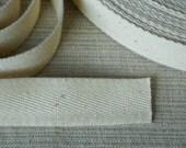 Tape ribbon woven herringbone ivory vintage 10 yards