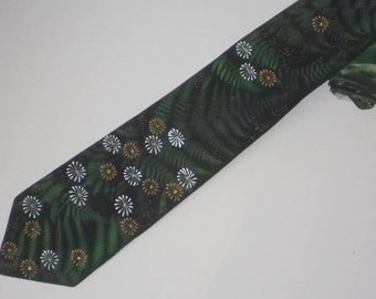 Handpainted necktie green with fern and daisy silk tie for woodland wedding