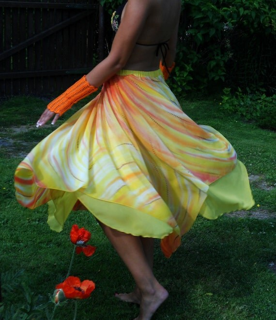 Handpainted skirt sunny yellow orange long skirt summer fashion wedding skirt