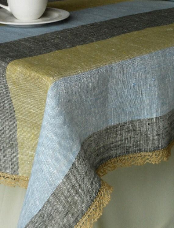 Striped table cloth pale mustard blue khaki with lace edge trim organic sheer gauzy linen tablecloth