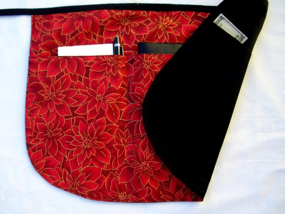 Christmas Poinsettia Red and Black Rounded Half Apron