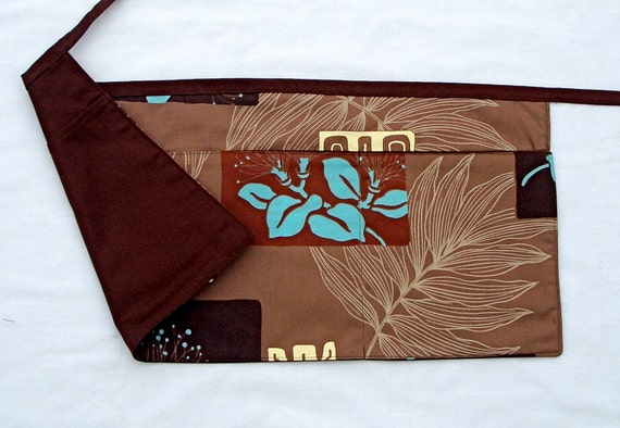 Brown and Turquoise Reversible Half Apron