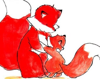 My Mama Fox and Me -- Archival Print