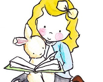Read Me a Story or Two -- Archival Print Yellow Hair