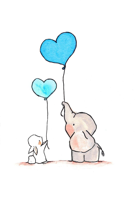 Flying hearts turquoise nursery elephant bunny art print for Chambre 8x10