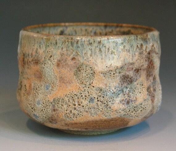 Chawan Japanese Style Stoneware Tea Bowl Volcanic Glaze Signed