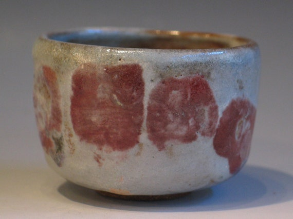 Small Yunomi Japanese Style Stoneware Tea Cup Pale Gray with Iron Red Finger Marks Watson