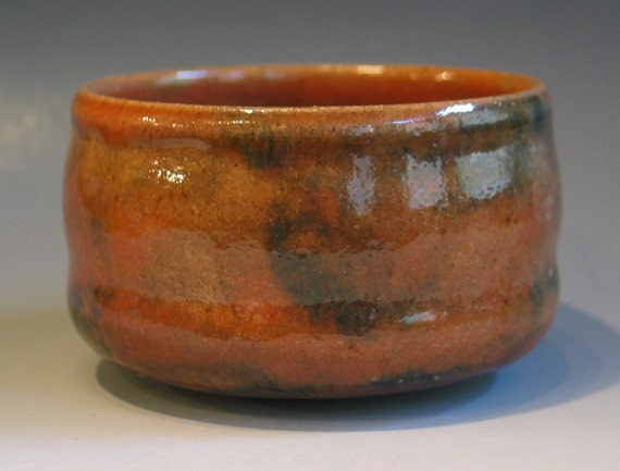Chawan Rose Inscribed Foot Design Speckled Stoneware Natural Earth Red Toned Glaze signed Watson