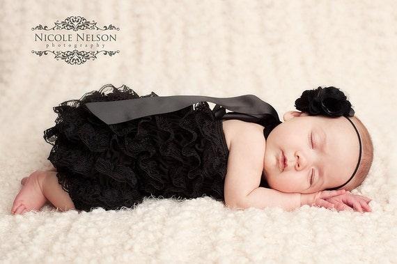Black Lace romper with satin halter straps - Cotton XS (Newborn - 12 Months)