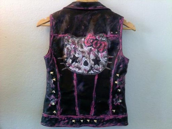 Gutter Hello Kitty Studded Faux Leather Motorcycle Jacket Vest