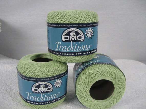 Lot of 3 DMC Crochet Thread - Traditions - Light Green - Perfect for Baby Projects