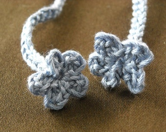 Blue Crocheted Flower Bookmark 12 inch long