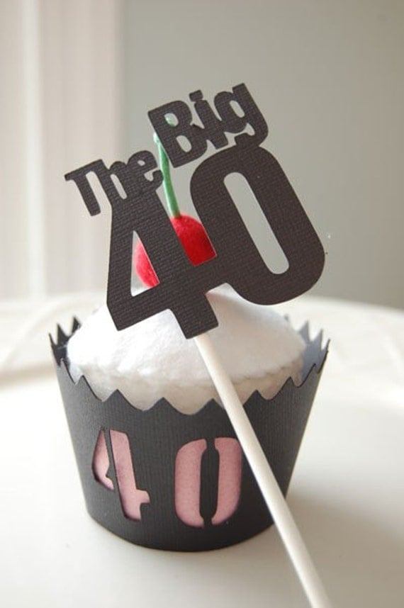 40th birthday cake toppers items similar to 40th birthday cupcake picks and wrappers 1116