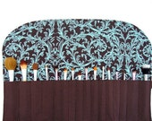 Extra Large Makeup Brush Roll- Turquoise/Brown Scrolls