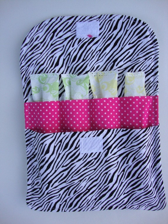 Back to School SALE. Tampon Purse Pouch- Hot Pink and Zebra