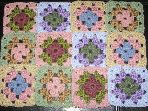 12 Crochet Granny Squares Multicolor Lot 15