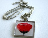 The Red Poppy  - metal, resin art pendant with silver chain