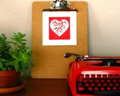 Heart Anatomy. Hand Pulled Limited Edition Block Print by PaperCutWorks