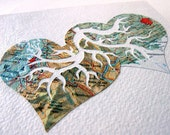 Handcut Map Art. Made to Order. You Pick the Two Locations. Two Hearts Beat As One Original Design by PaperCutWorks