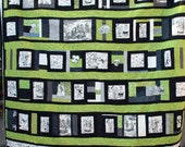 Queen Size Quilt Featuring Day of the Dead  in Black and White and Your Choice of Accent Color