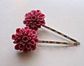 CLEARANCE-WAS 7.50 NOW 3.50 Flower Bobby Pin Set - Raspberry Red- Chrysanthemum