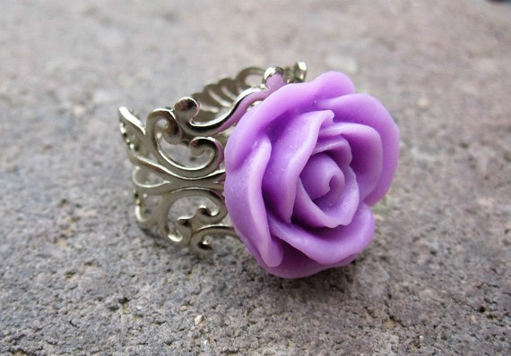 """SALE-WAS 9.00 NOW 4.00 Rose Ring - Lavender - Shiny Silver  - """"The Elegance Collection"""" - Flower ring - Steampunk ring"""