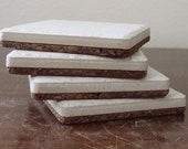 Corked Tile Coasters (White) - you choose the shade of cork