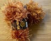 2 Skeins Lion Brand Fun Fur Yarn in Copper DESTASH