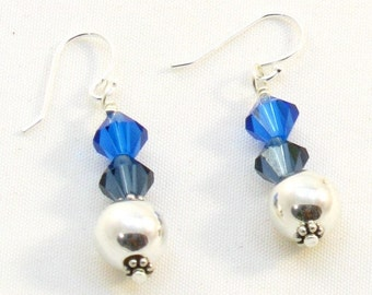 Earrings in Capri Blue Swarovski Crystal and Sterling Silver