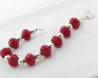 Red Crystal and Sterling Silver Bracelet