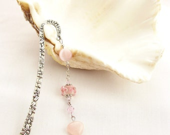 Pink Beaded Bookmark with Rose Quartz Heart Charm