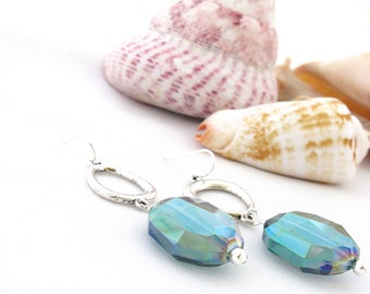 Sparkly Blue Green Earrings