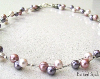 Swarovski Pearl Pattern Triple Strand Floating Necklace PDF