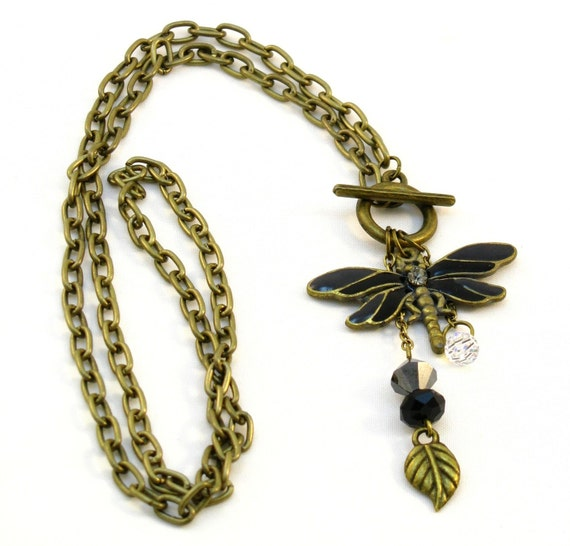 Dragonfly Pendant in Antique Gold with Swarovski Crystals