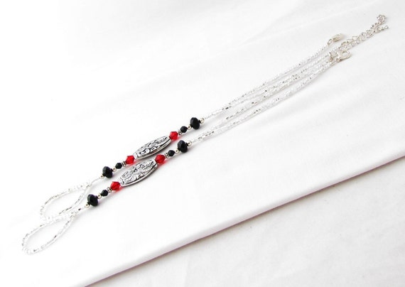 Silver Red and Black Barefoot Sandals