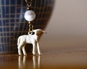 Mary Had A Little Lamb Necklace Featuring a Vintage 1930s Celluloid Gumball Charm