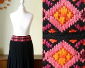 Pleated Skirt With Colorful Folkloric Embroidered Waist Size XS S