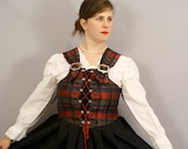 SALE Plaid Corset Dirndl / Scottish Lass / Plus size