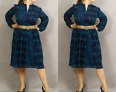 SALE 1970s Picasso Dress In Peacock Blue, Teal, Black and Burgundy / L XL